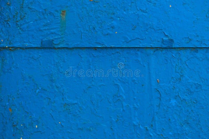 Tekstura żelazny metal malująca błękitnej farby metalu prześcieradła podława stara podława porysowana krakingowa antyczna ściana  zdjęcia stock