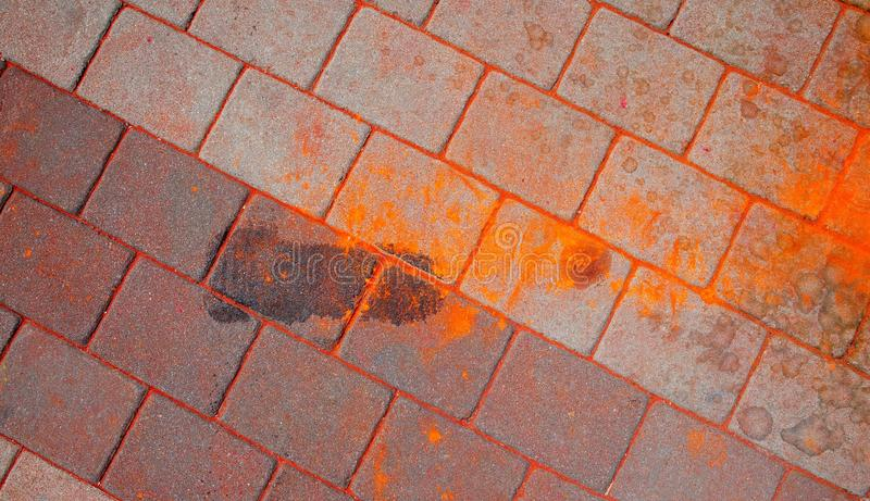 Tekstura asfalt Barwić plamy, bryzgają i ślada farba suszą obraz stock