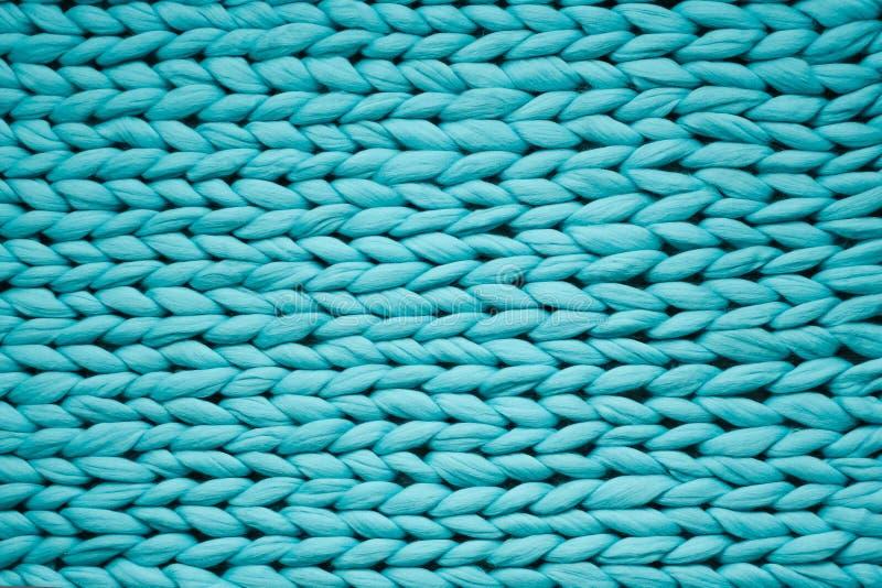 Tekstura błękitna dzianiny koc Wielki dzianie Szkocka krata merynosów wełna Odgórny widok obraz royalty free