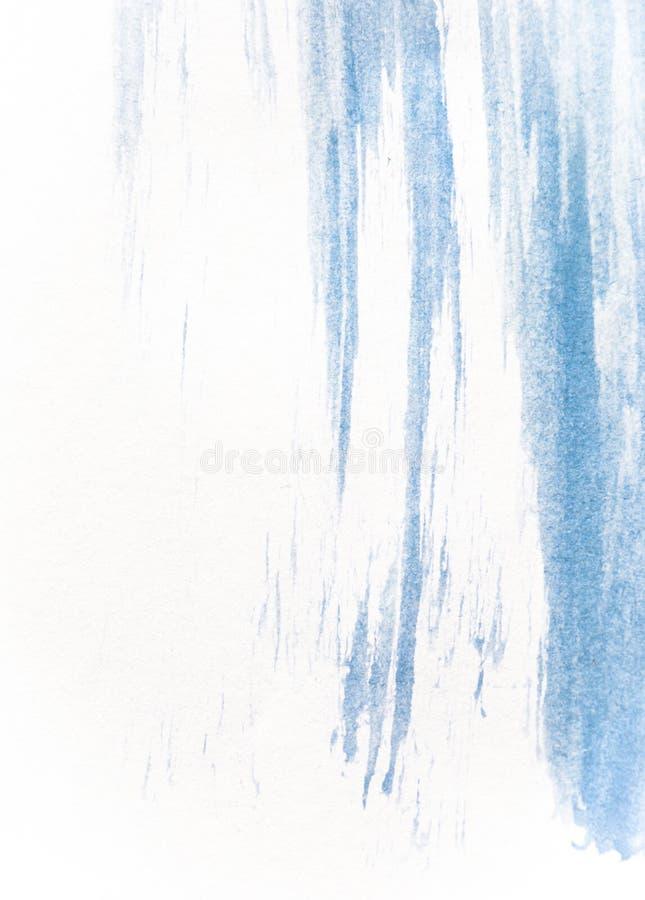 Tekstura błękitna watercolour farba na białym papierze Pionowo akwareli tło zdjęcie stock