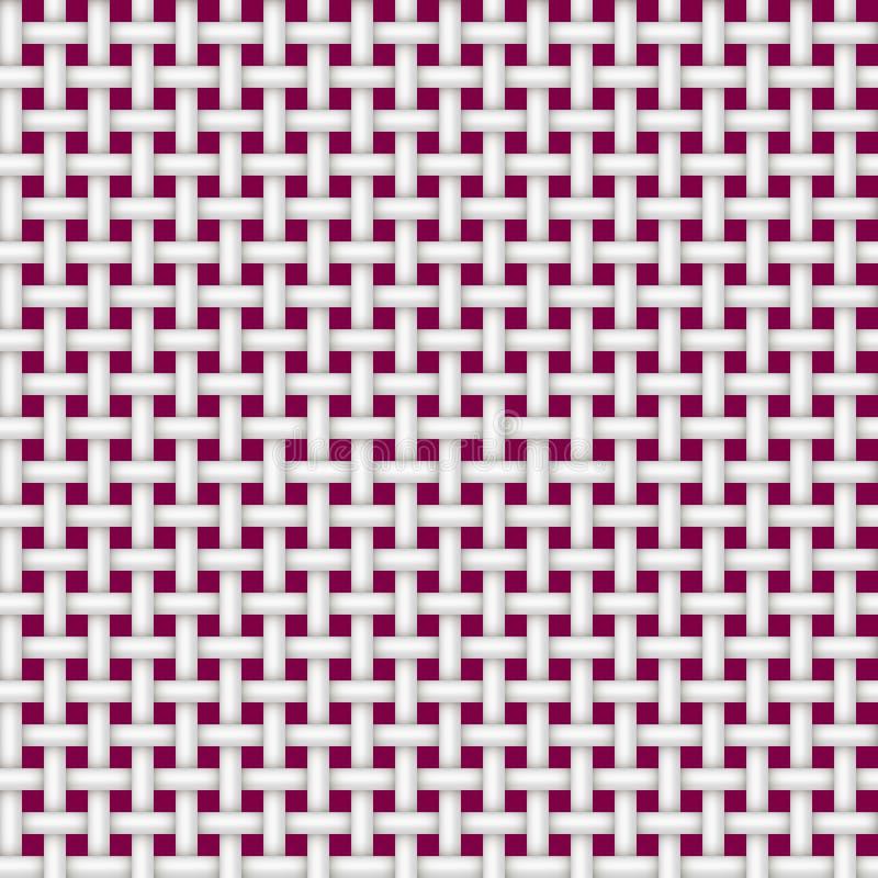 Tekstura bezszwowy rattan biel na czerwonym tle ilustracji
