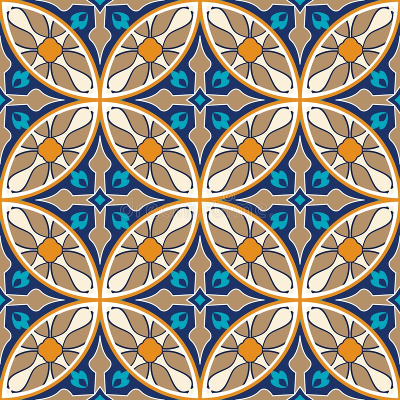 tekstura bezszwowy wektor Mozaika patchworku ornament Portugalskich azulejos dekoracyjny wzór ilustracji