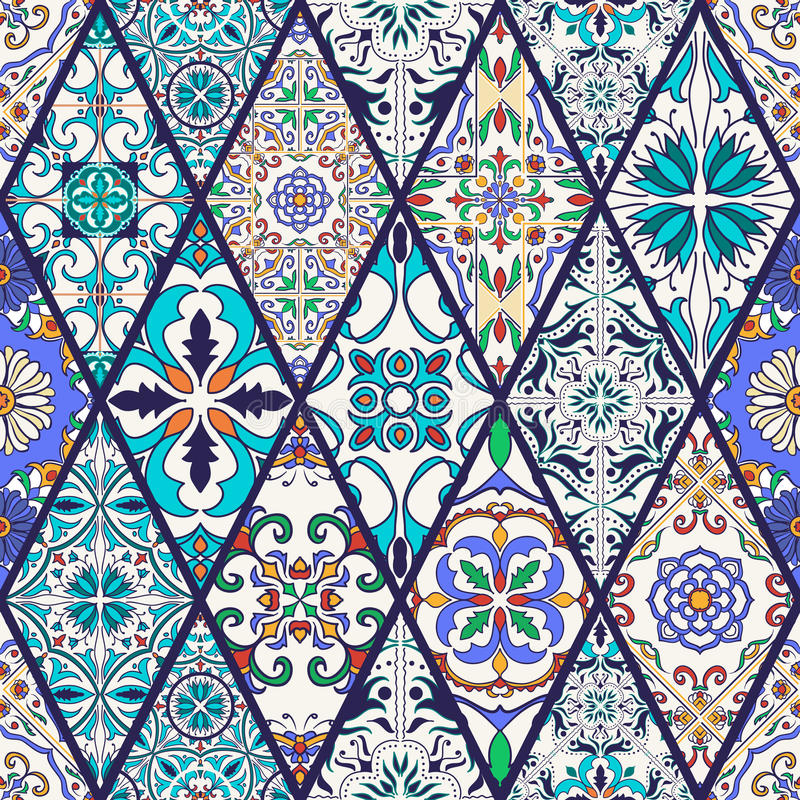 tekstura bezszwowy wektor Piękny mega patchworku wzór dla projekta i moda z dekoracyjnymi elementami ilustracji