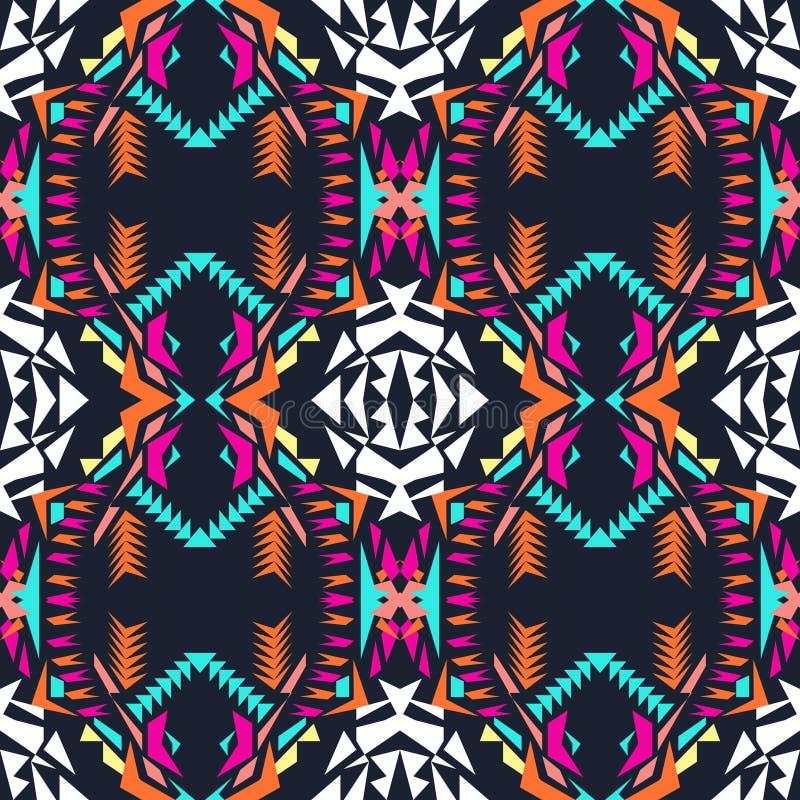 tekstura bezszwowy wektor Plemienny geometryczny wzór Electro boho koloru trend Azteka ornamentacyjny styl ilustracji
