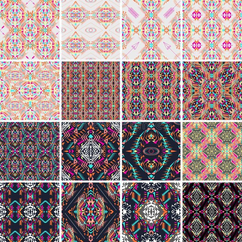 tekstura bezszwowy wektor Set plemienni kolorowi wzory dla projekta Electro boho koloru trend Azteka ornamentacyjny styl ilustracja wektor