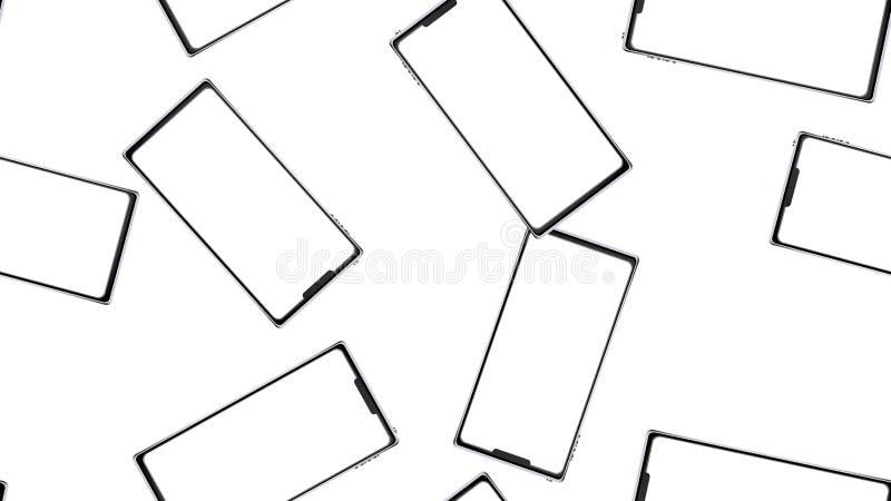 Tekstura, bezszwowy wzór nowożytni modni piękni glansowani drodzy mądrze realistyczni isometric obwódek smartphones, wisząca ozdo ilustracji