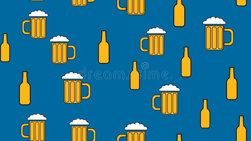 Tekstura bezszwowy wzór od setu rzadcy dobrzy smakowici odświeżający alkoholiczni napoje nietrzeźwy światło i zmroku słód pienimy ilustracji