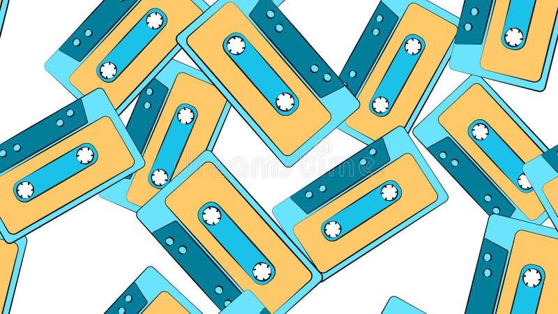 Tekstura bezszwowy wzór od starego rocznika modnisia musicalu retro antykwarskiego filmu audio kasety na tle royalty ilustracja