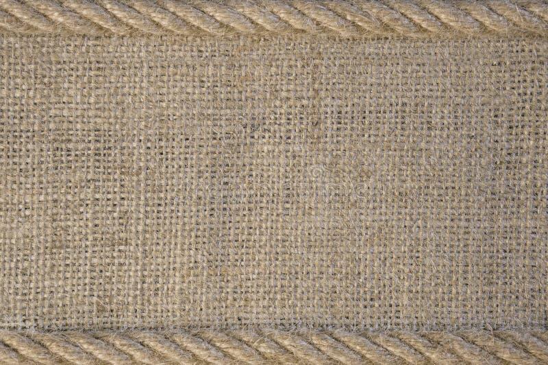 Tekstura burlap z sznur arkaną obraz stock