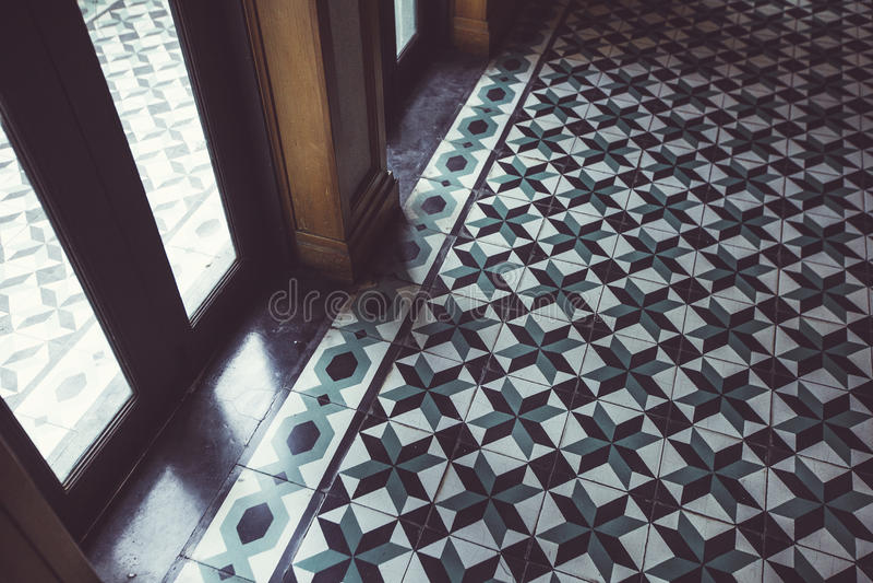 Tekstura ceramiczne płytki w orientalnym stylu, stary budynek, Bangkok zdjęcie stock