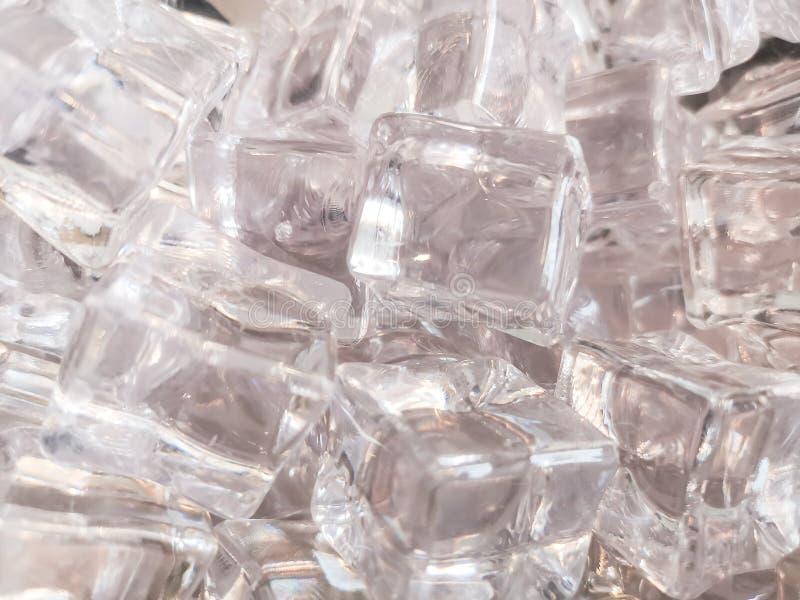 Tekstura czysty błyszczącego i białego kwadrata lód dla tła zdjęcia stock