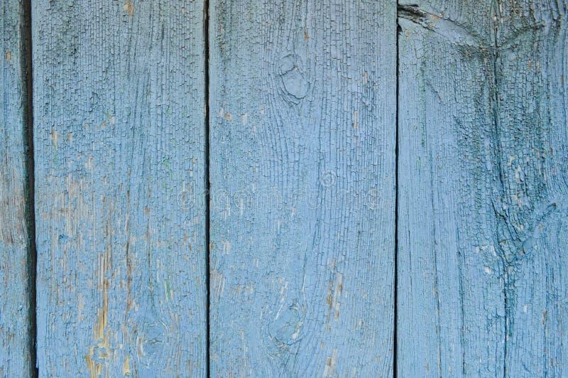 Tekstura drewniane błękitne stare deski malować z błękitną obieranie farbą z szwami verdure pozyskiwania środowisk gentile fotografia stock