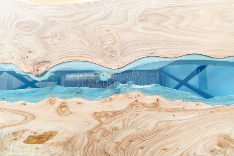 Tekstura drewniany stół z epoxy żywicą Odgórny widok drewno dla tła zdjęcie stock
