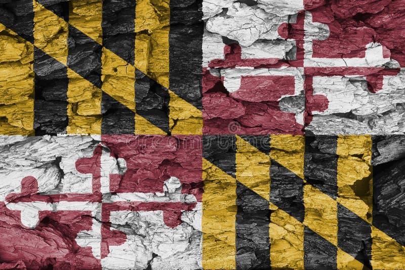 Tekstura flaga Maryland na dekoracyjnej barkentynie royalty ilustracja