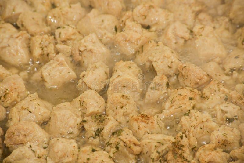 Tekstura kawałek soj imitacja mięso w niecce zdjęcia stock