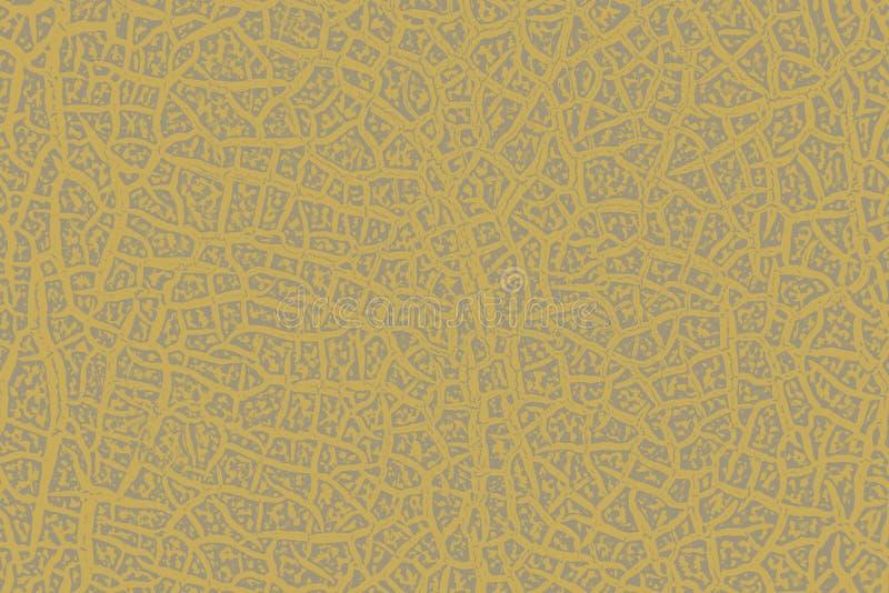 Tekstura krakingowa melonowa skorupa dla tła w koloru żółtego czerni tonuje royalty ilustracja