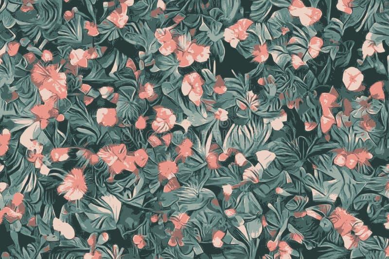 Tekstura kwiaty, abstrakcjonistyczny kwiecisty tropikalny egzot zasadza i kwitnie ilustracji