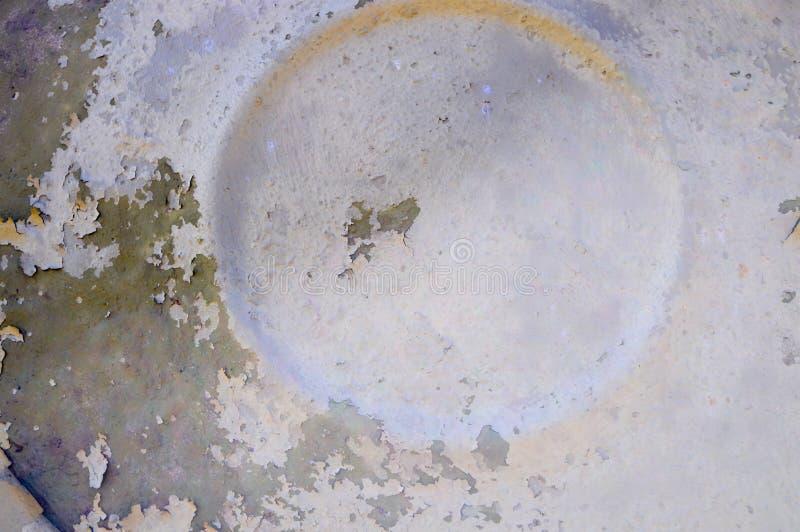 Tekstura luźna metal ściana z kółkowym wzorem z podława stara farba malującym obieraniem rysującym okręgu tłem i obrazy royalty free