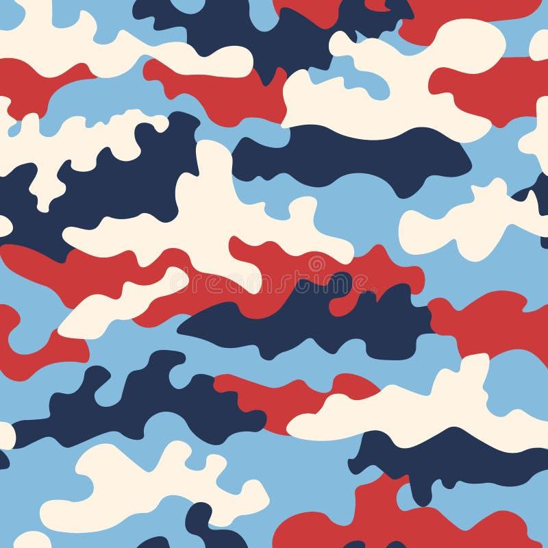 Tekstura militarny kamuflaż powtarza bezszwowego wojska czerwonego białego błękit i durk błękit barwi bezszwowego tło royalty ilustracja