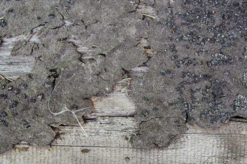 Tekstura nieociosany drewno z kawałkami bitumiczny narzut zdjęcia stock