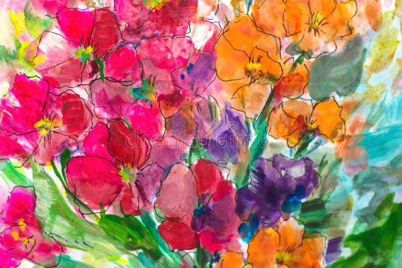 Tekstura obraz olejny kwitnie, malujący żywych kwiaty, flory royalty ilustracja
