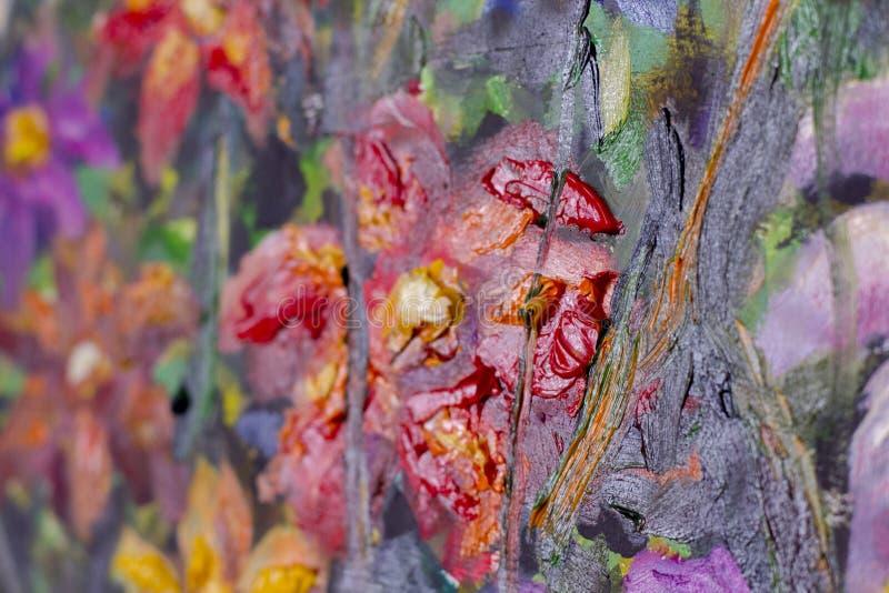 tekstura obraz olejny kwitnie, malujący żywych kwiaty wciąż, kwiecisty życie zdjęcie stock