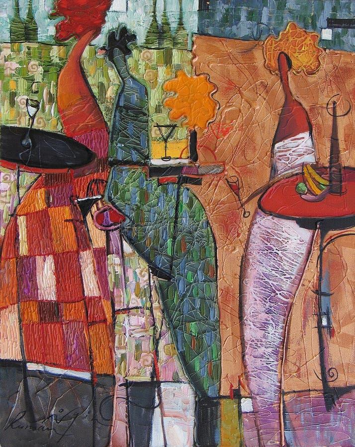 Tekstura obraz olejny pisze Romańskiego Nogin, serii ` kobiet ` s rozmowa ` obraz royalty free