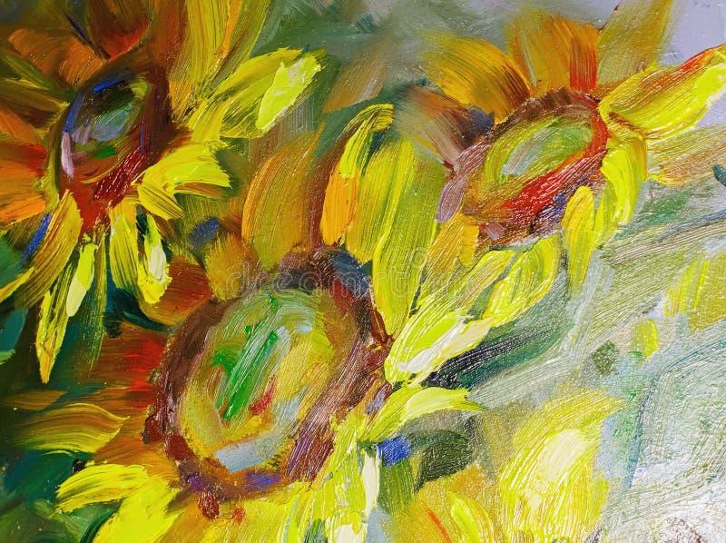 Tekstura obrazy olejni, kwiaty, maluje czerep malujący obraz royalty free