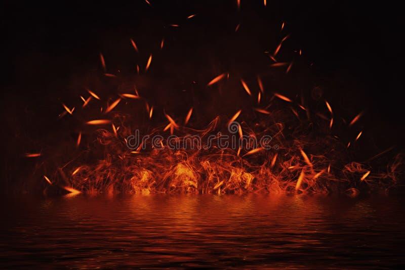 Tekstura ogień z odbiciem w wodzie Płomienie na odosobnionym czarnym tle Tekstura dla sztandaru, ulotka, karta royalty ilustracja