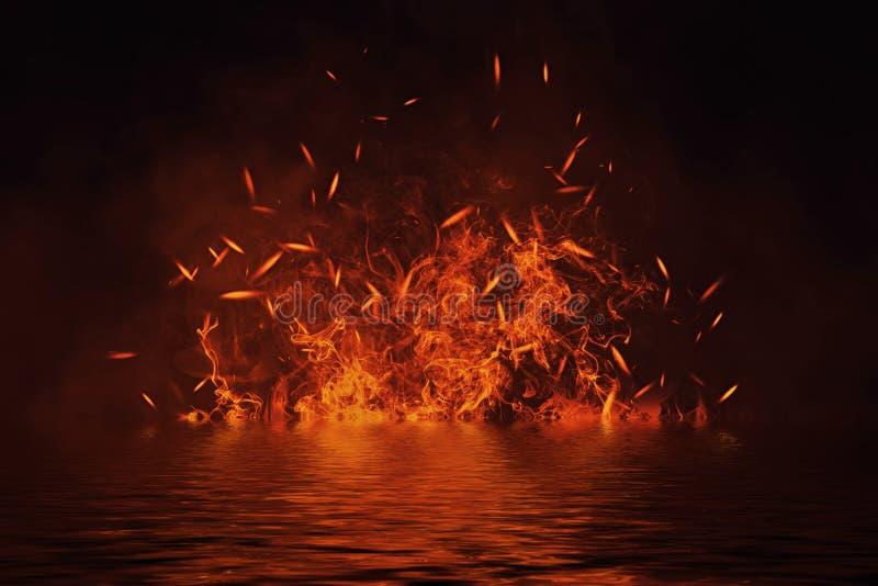 Tekstura ogień z odbiciem w wodzie Płomienie na odosobnionym czarnym tle Tekstura dla sztandaru, ulotka, karta ilustracji