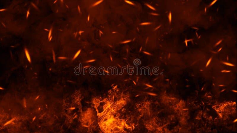 Tekstura oparzenie ogie? z cz?steczek embers P?omienie na odosobnionym czarnym tle elementy projektu podobie?stwo ilustracyjny we royalty ilustracja