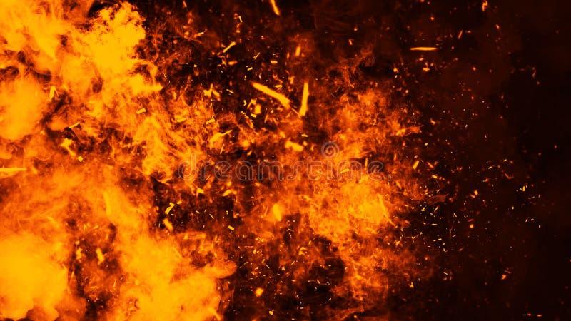 Tekstura oparzenie ogie? z cz?steczek embers P?omienie na odosobnionym czarnym tle elementy projektu podobie?stwo ilustracyjny we ilustracji
