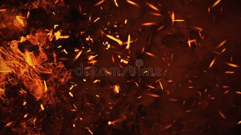 Tekstura oparzenie ogie? z cz?steczek embers P?omienie na odosobnionym czarnym tle elementy projektu podobie?stwo ilustracyjny we ilustracja wektor