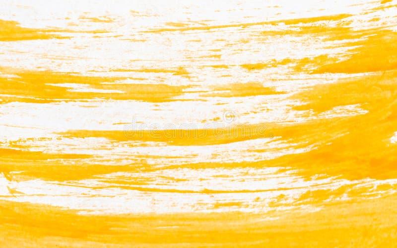 Tekstura pomarańczowa akwareli farba na białym papierze Horyzontalny tło z plamami watercolour muśnięcia uderzenia obrazy stock