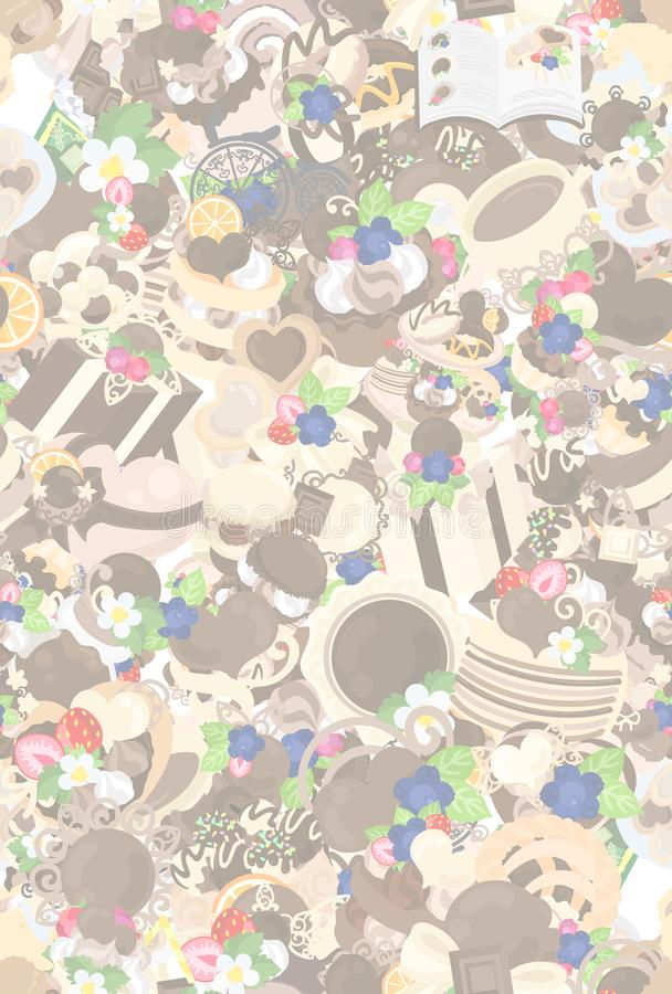 Tekstura różnorodni czekoladowi cukierki ilustracja wektor