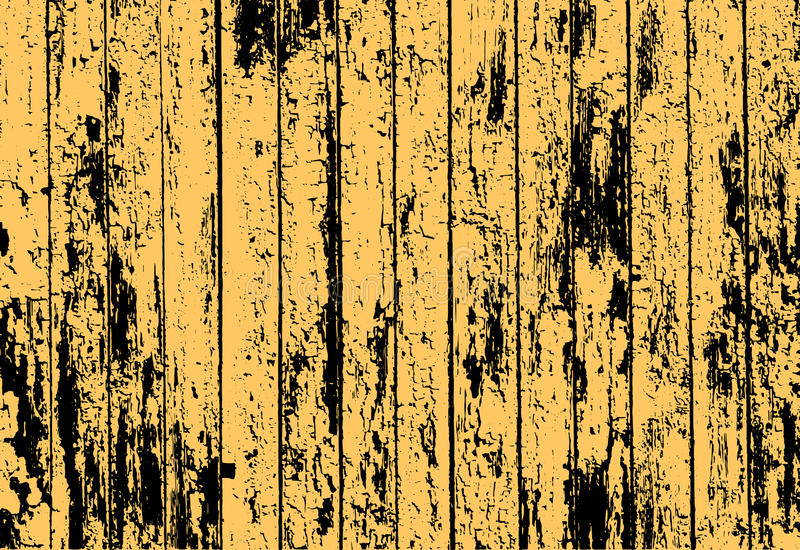Tekstura realistyczny żółty stary malujący drewniany ogrodzenie ilustracji