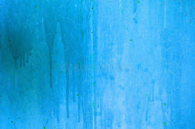 Tekstura rocznika błękitnego i szarego żelaza ściany ośniedziały tło z wiele warstwami farba zdjęcia stock