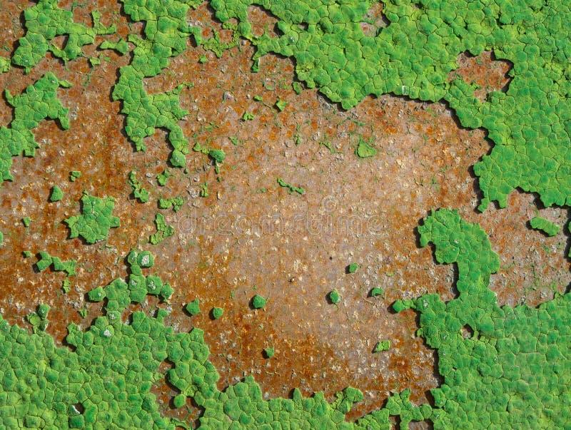 Tekstura stara zielona farba na ośniedziałym metalu obraz stock