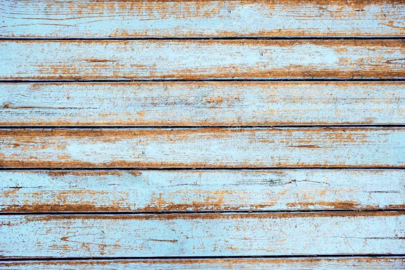 Tekstura stare drewniane deski zakrywać w błękitnej farbie obraz stock