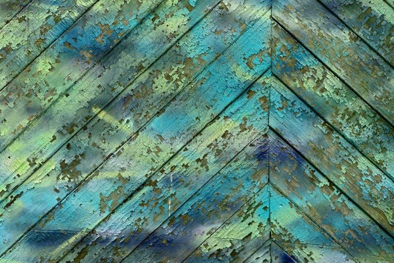 Tekstura starego rocznika drewniane deski malował w cyan zdjęcie royalty free