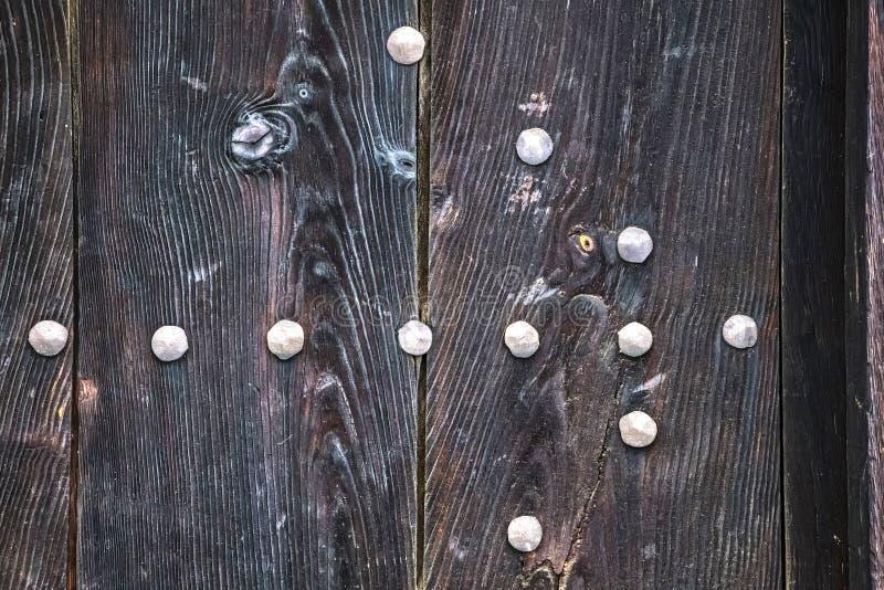 Tekstura stary antyczny średniowieczny antykwarski solidny drewniany naturalny gęsty drzwi fotografia royalty free