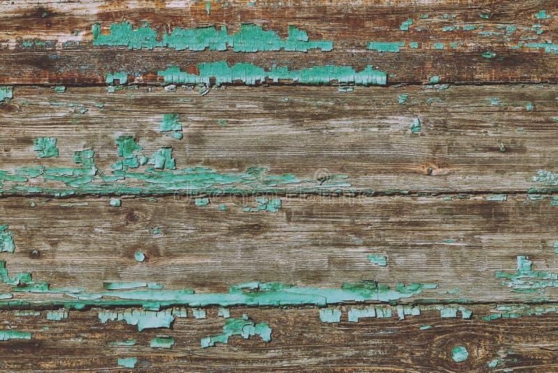 Tekstura stary drewno z podławą farbą zielony kolor obraz stock