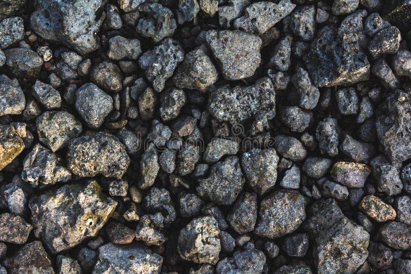 Tekstura szarzy ostrzy nierówni kamienie, iluminująca ranku słońcem fotografia royalty free