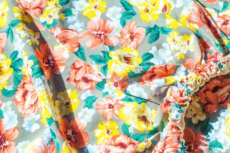 Tekstura, tło, wzór Dziewczyny spódnica Jedwabnicza tkanina z flo obrazy royalty free