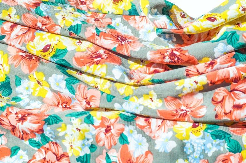 Tekstura, tło, wzór Dziewczyny spódnica Jedwabnicza tkanina z flo obraz royalty free