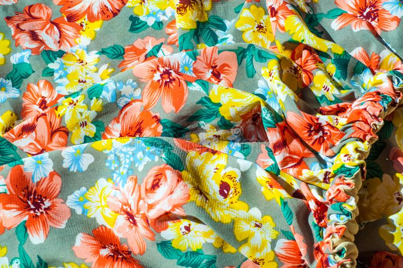 Tekstura, tło, wzór Dziewczyny spódnica Jedwabnicza tkanina z flo zdjęcie royalty free