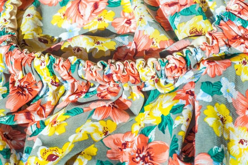 Tekstura, tło, wzór Dziewczyny spódnica Jedwabnicza tkanina z flo zdjęcia royalty free