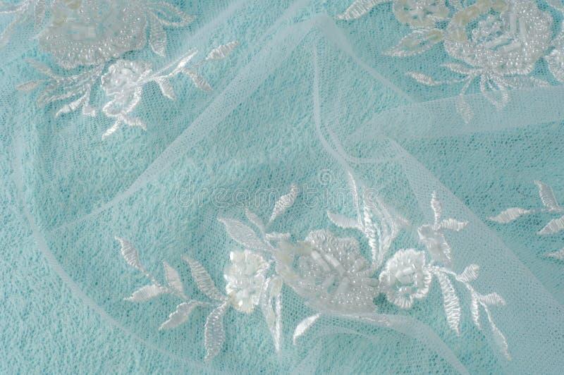 Tekstura, tło, wzór Koronkowa biała tkanina Kwiaty robić obraz royalty free