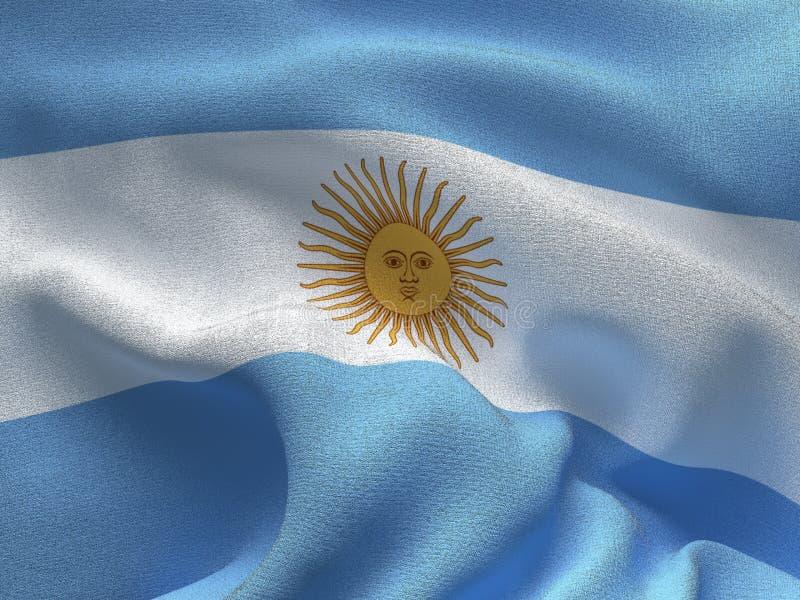 Tekstura tkanina z wizerunkiem flaga Argentyna, macha w wiatrze ilustracji