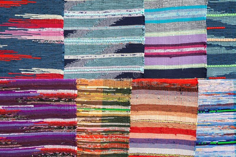 Tekstura tradycyjna kolorowa dywanik tkanina projekt etniczny obrazy royalty free